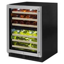 Marvel ML24WDL 24  Wide 40 Bottle Built In Dual Zone Wine Cooler with LED Lighti