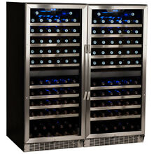 EdgeStar CWR1101DZDUAL Stainless Steel 47  Wide 220 Bottle Built In Wine Cooler