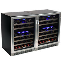 EdgeStar CWR461DZDUAL Stainless Steel 47  Wide 92 Bottle Built In Wine Cooler