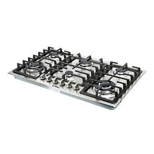 34  Stainless Steel Built In 6 Burners Cooktop Stove NG LPG Hob Cooker Top Brand