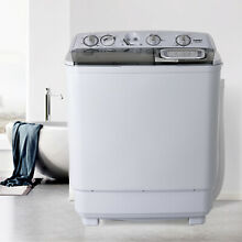 21LBS Mini Semi Automatic Compact Washing Machine Twin Tub Washer Laundry