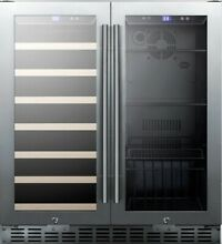 Summit SWBV3001 30 Built In Dual Zone Wine and Beverage Cooler   Stainless Steel