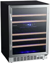 EdgeStar CWR462DZ 24 Inch Wide 46 Bottle Built In Dual Zone Wine Cooler with Rev