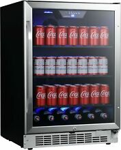 EdgeStar CBR1502SG 24 Inch Wide 142 Can Built In Beverage Cooler with Tinted Doo