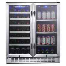 EdgeStar CWB2886FD 30 Inch Wide 28 Bottle Built In Dual Zone Beverage Center wit