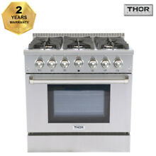 Thor Kitchen 36 Gas Range Cooker Oven Stainless Steel 6 Burner Cooktop HRG3618U