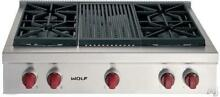 Wolf 36 Inch 4 Dual Stacked Burners Pro Style Gas Rangetop with Gill SRT364CLP