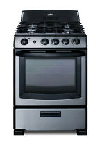 Summit PRO247 Stainless Steel 24 W 2 9 Cu  Ft  Free Standing Gas Range