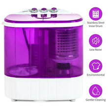 10 LBS Portable Mini Wash Machine Compact Twin Tub Washer Dryer Spinning Purple