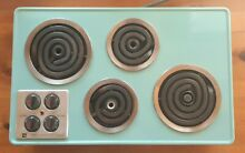 Vintage 1960 Turquoise Enamel Frigidaire Imperial Electric Built in Cooktop RARE