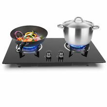 Household 2 Burners Liquefied Gas Stove Cooker Kitchen Outdoor Cooking Cooktops