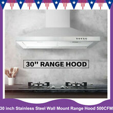 30 inch Stainless Steel Wall Mount Kitchen Range Hood 500CFM 3 Speed Control LED