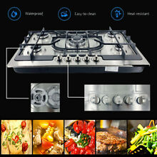 35In Built In Gas Cooktop 5 Burners NG LPG Convertible Stainless Steel Gas Stove