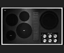 Kitchenaid 36 in Downdraft Electric Cooktop Black 5 Elements KCED606GBL