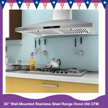 Kitchen 30 Inch Wall Mounted Stainless Steel Range Hood 350 CFM 3 Speed Vent New
