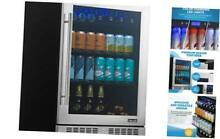 24  Beverage Refrigerator and Cooler with Seamless Stainless Steel Glass