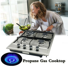 23  Electric Propane Gas Cooktop Gas Stovetop Stainless Steel Built in 4 burners