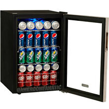 80 Can Stainless Steel Compact Beverage Cooler Refrigerator EdgeStar Mini Fridge