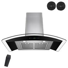 NEW 30  DUCTLESS GLASS WALL MOUNT RANGE HOOD W  REMOTE CONTROL MODERN VENT STOVE