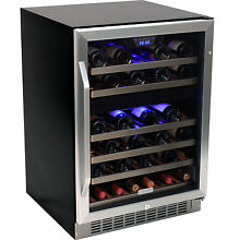 46 Bottle Built In Dual Zone Wine Cooler Fridge Stainless Steel Beverage Chiller