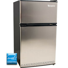 Stainless Steel Silver Mini Refrigerator w  Top Freezer  Beverage Compact Fridge