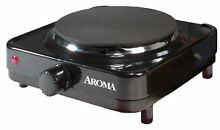 Aroma Single Portable Camping Electric Countertop Hot Plate Stove Black
