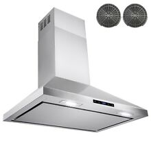 36  Stainless Steel Wall Mount Range Hood Vented Cooking Display Carbon Filter