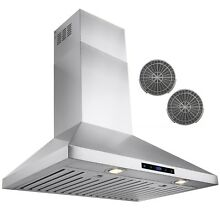 30  Stainless Steel Wall Mount Range Hood Touch Control Ductless Vented