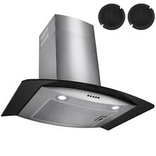 30  Wall Mount Black Glass   Stainless Steel Range Hood Kitchen Fan Stove Vent