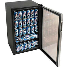 Beverage Drink Cooler Compact Glass Door Refrigerator Soda Beer Wine Mini Fridge