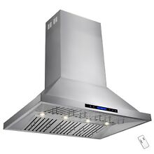 42  Dual Motor Stainless Steel Island Mount Range Hood Touch Screen Display