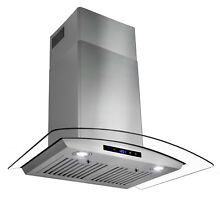 30  Stainless Steel Wall Mount Range Hood Fan with Tempered Glass Touch Panel