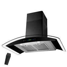 30  Wall Mount Range Hood Stainless Steel Black Touch Panel Curved Glass Kitchen