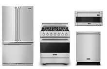 Viking 3 Series 36in Refrigerator  30in Gas Range  Hood Microwave  Dishwasher