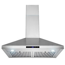 30  Stainless Steel Wall Mount Range Hood Cooking Modern Vent Baffle Touch Panel