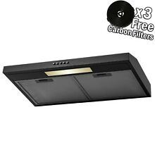 30  Under Cabinet Black Finish Stainless Steel Push Panel Kitchen Range Hood