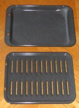 Vintage Oven Broiler Drip Pan   Grill Rack   Gray Speckled Enamel   Never Used