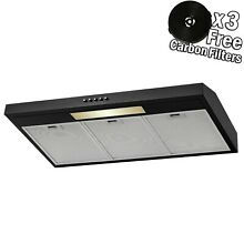 36  Under Cabinet Black Stainless Steel Push Panel Kitchen Range Hood w  Filters