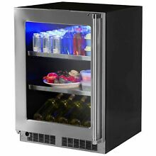 Low Profile 15 inch 2 3 cu  ft  Undercounter Beverage Center Left Stainless Stee