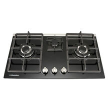 WINDMAX 30  Black Built in Cooktop 3 Burners NG LPG Tempered Glass Gas Hob
