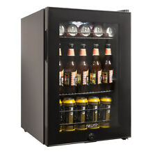 NewAir 90 Can Capacity Compact Beverage Fridge Cooler with Glass Door  Black