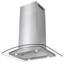 30  Island Mount Stainless Steel Range Hood 3 Speed Push Button Control Panel