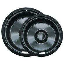 Range Kleen P109102X Style F   2 Pk 6 In a  8 in Black Porcelain Drip Pan