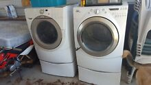 Washing machine and Dryer  white  both on pedestal  Dusty