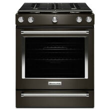 KitchenAid 5 Burner  Self Cleaning Convection Slide in Gas Range Black Stainless