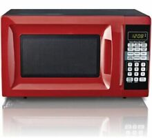 Hamilton Beach 0 7 Cu  Ft  Red Microwave Oven  10 Power Levels  6 Quick Buttons