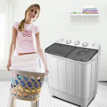 Portable Mini Washing Machine Compact Twin Tub 12lb Washer w  Spin