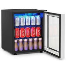 60 Can Beverage Mini Refrigerator w  Glass Door BLACK Modern LED Light