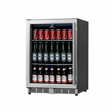 KingsBottle 160 Can Beverage Cooler  Stainless Steel with Glass Door 160 cans