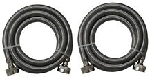 2  Universal Stainless Steel Washing Machine Braided Fill Hoses Hot Cold 4ft